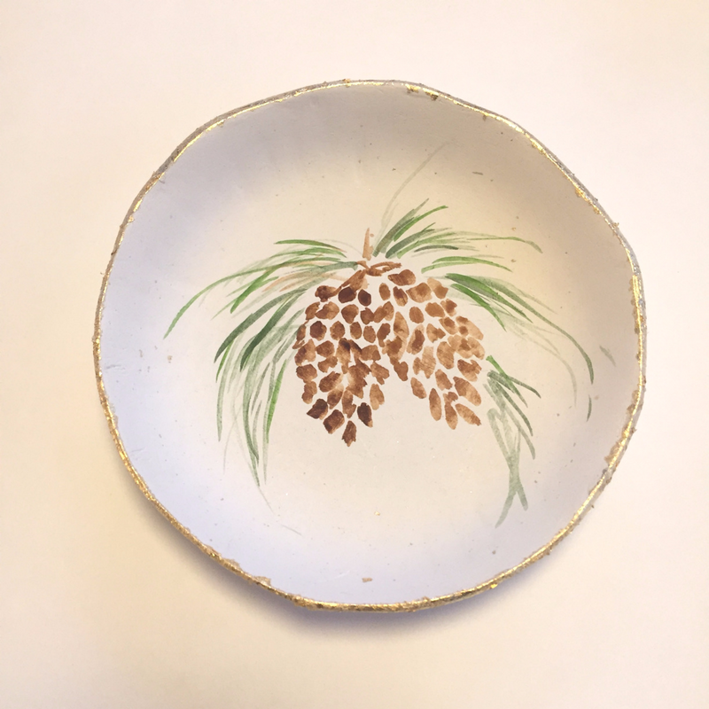 pine cone design shallow bowl