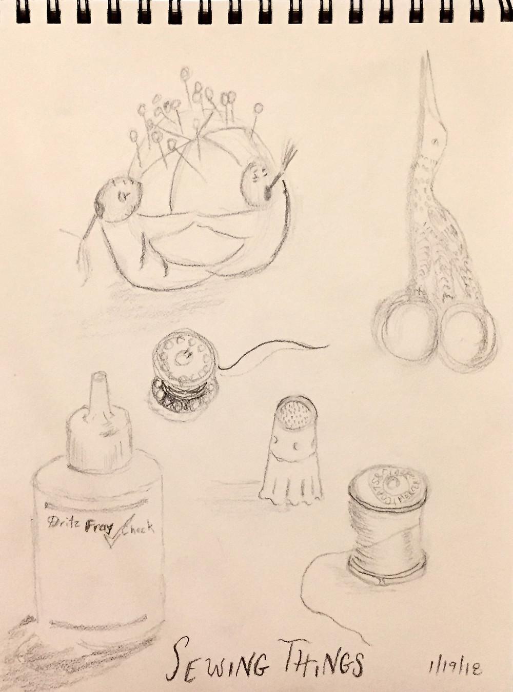 Sketch of sewing things