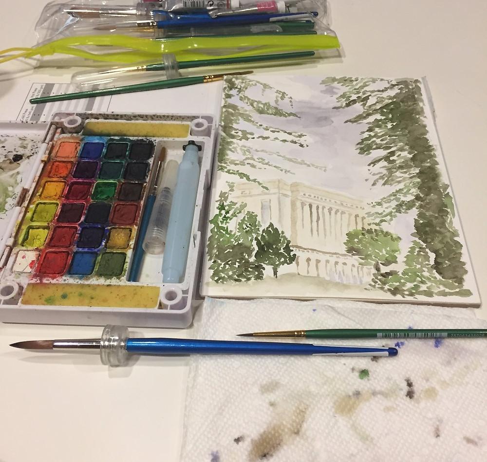 Koi paint set, brushes & watercolor painting