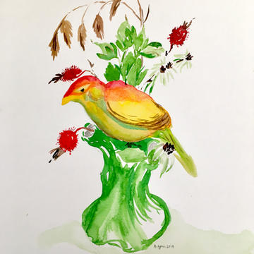 Flower frog watercolor