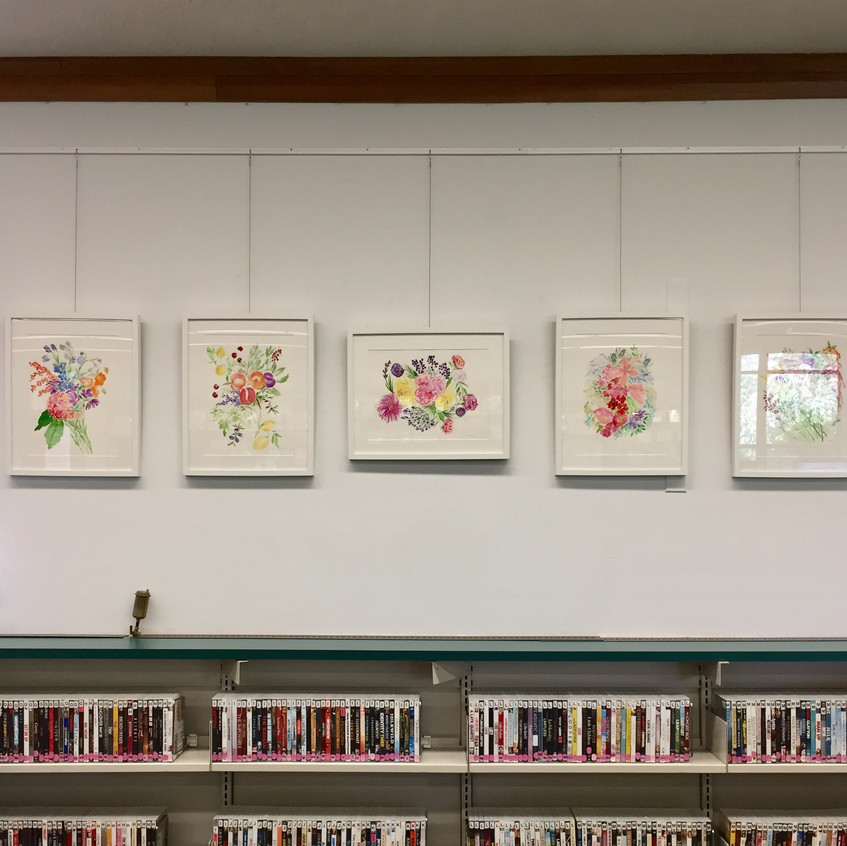 Various floral bouquets at library