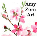 Amy Zorn Art logo of cherry blossoms