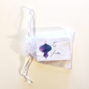 Gift tags in organza bag