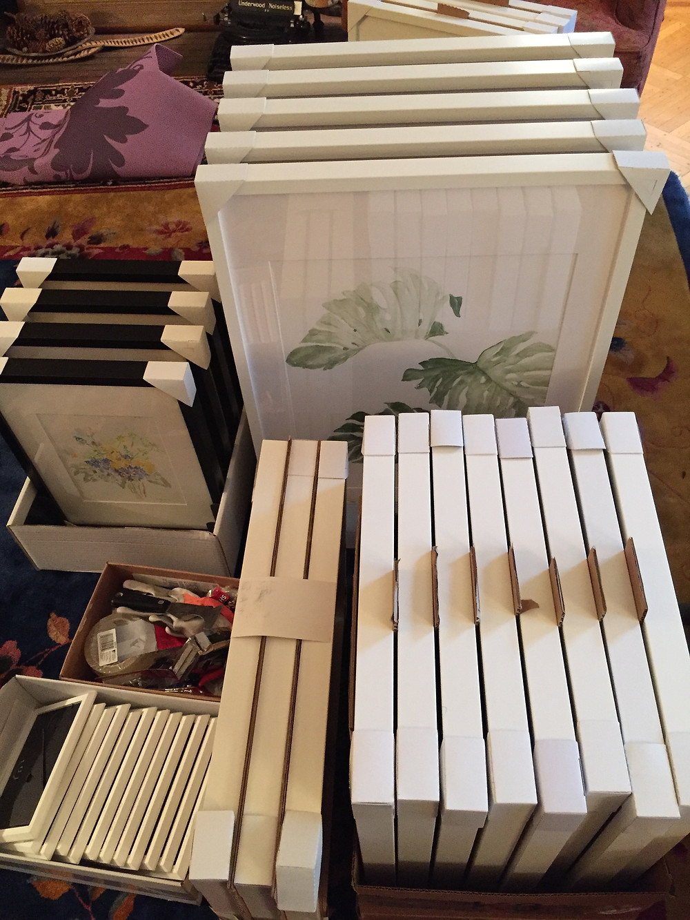 Paintings packed up for transport