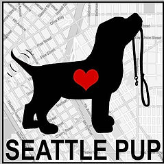 Seattle Pup Logo Black dog with red heart wagging tail