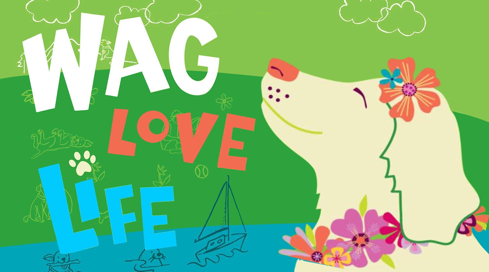 Wag Love Life Poster dog with flowers