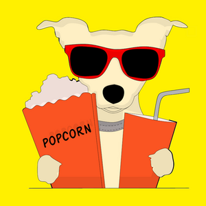 drawing of dog with sunglasses soda and popcorn