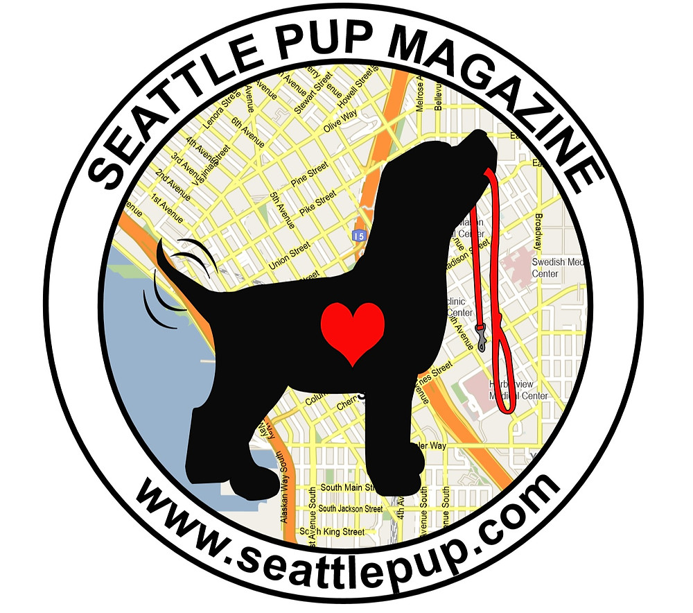 Seattle Pup Magazine logo with a black dog, red heart, red leash and map of downtown Seattle in background