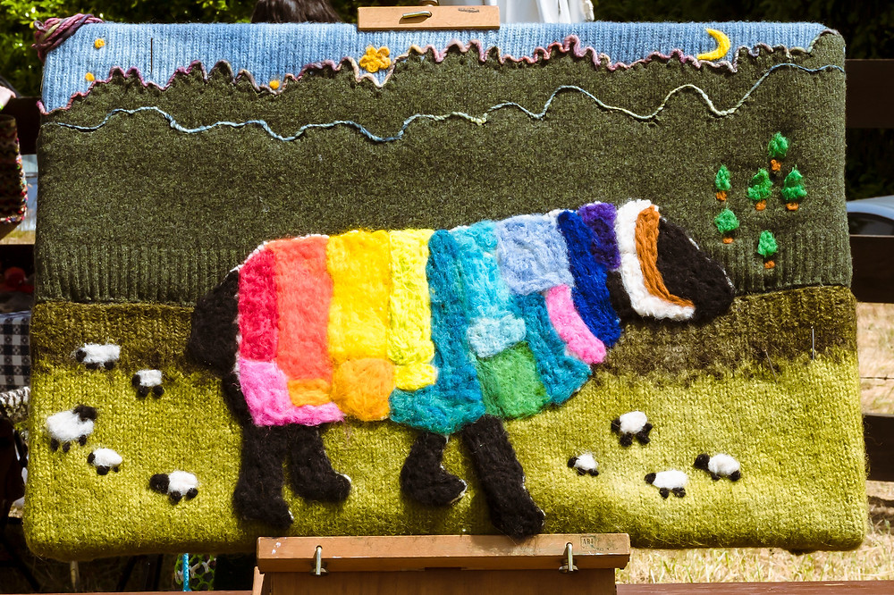 rainbow sheep wool rug art
