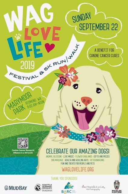 wag love life poster with dog smiling