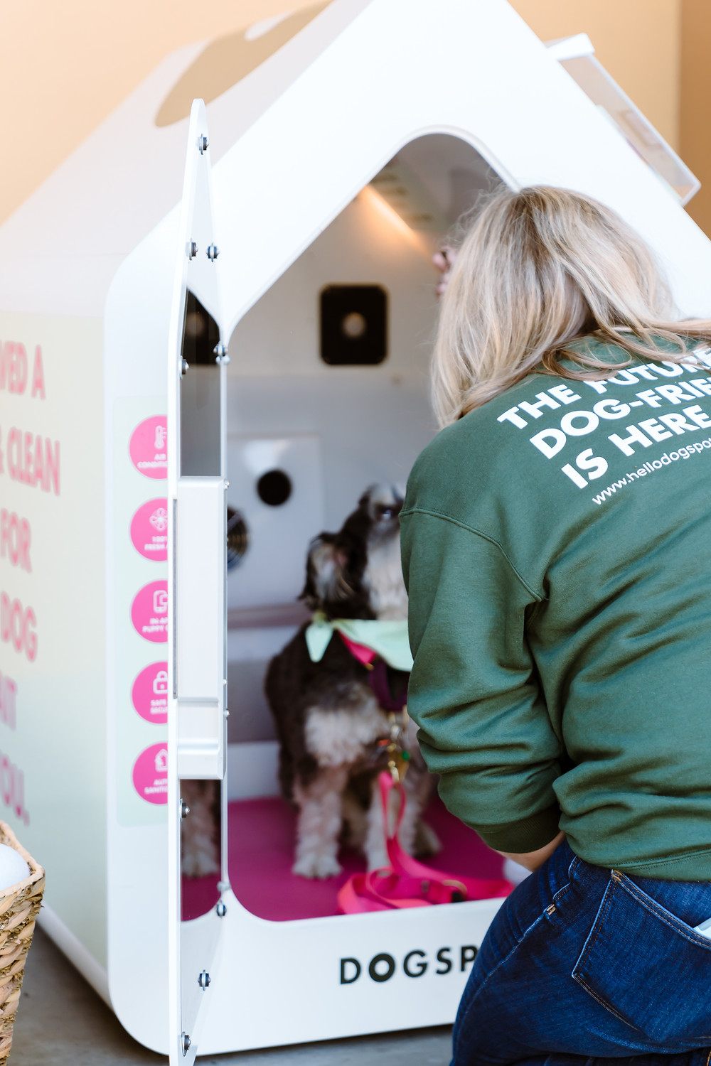 Woman opening dog house