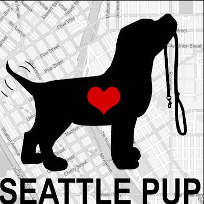 Seattle Pup Logo Dog with Heart on Map of Seattle