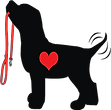 Seattle Pup Logo black dog with red heart and leash wagging tail