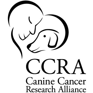 Logo (person smiling at smiling dog) for the CCRA Canine Cancer Research Center