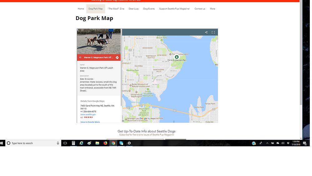 Dog Park Map Screen Shot Image Magnuson Park