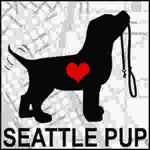 Seattle Pup Logo. Dog with heart
