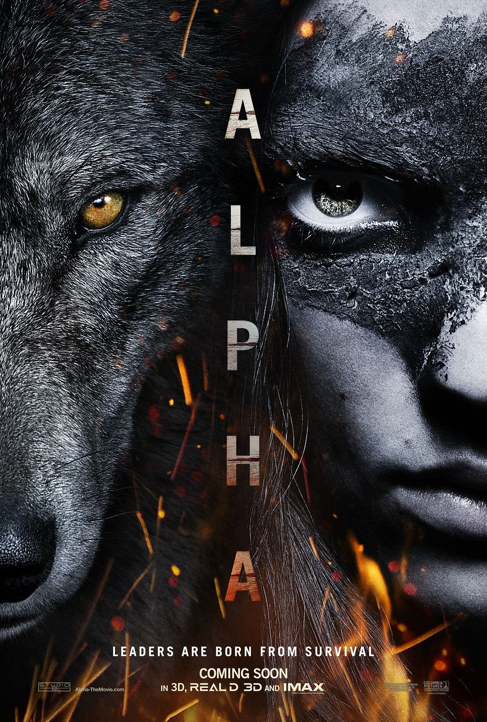 Movie Poster Wolf face and boy face