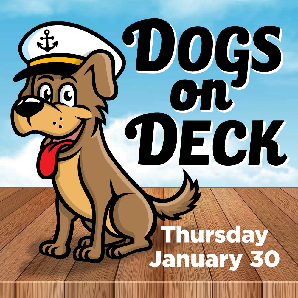 Dogs on Deck cartoon with dog in captains hat