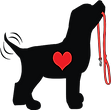 Seattle Pup Logo, black dog with red heart and leash, wagging tail