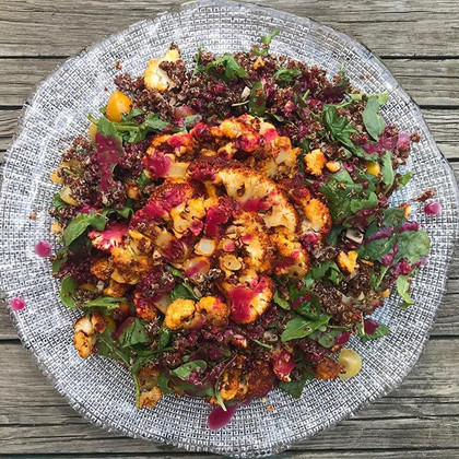 Cauliflower & quinoa salad with beet balsamic
