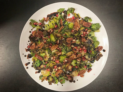roasted Brussels sprouts with pomegranate & balsamic reduction