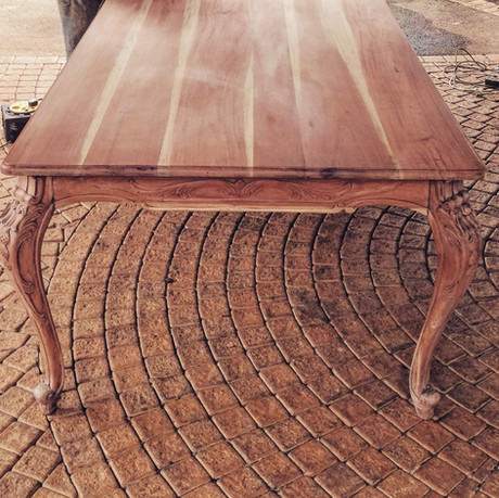 Reproduction dining table stripped natural wax finish