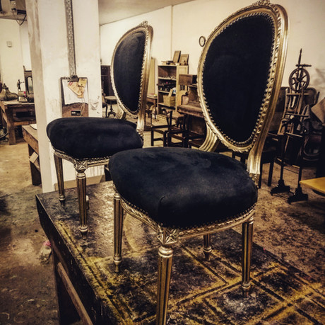 French antique chairs with gilt frame restoration