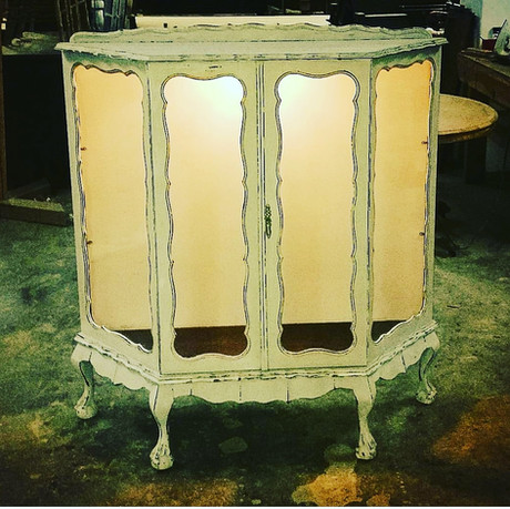 Ball and claw display cabinet antique painted finish with fitted downlighting