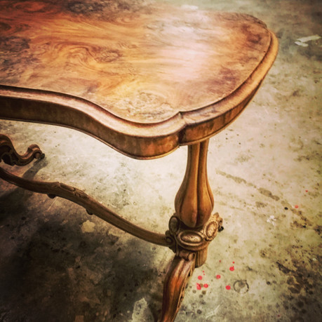 Antique walnut stretcher table stripped natural wax finish
