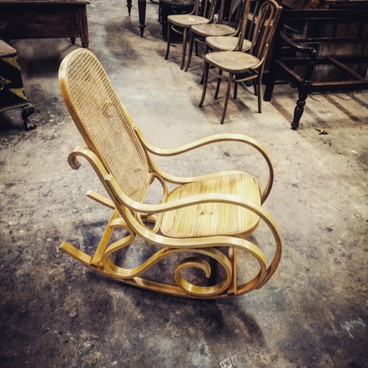 Bentwood rocking chair stripped natural wax finish