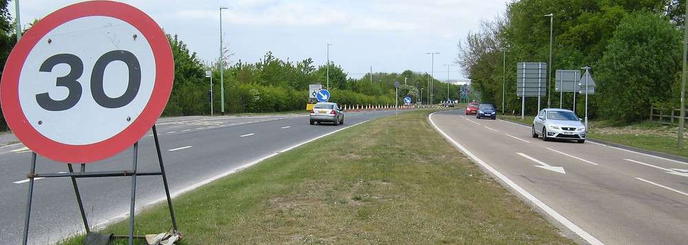 A30 near Sainsburys, showing space available for cycle lanes