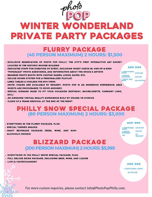 WINTER WONDERLAND PRIVATE PARTY PACKAGES