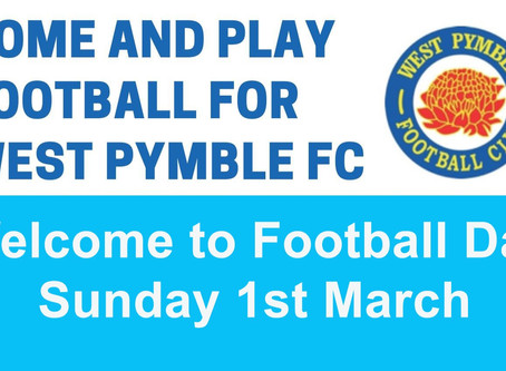 U6/U7 Welcome Day - Sunday 1st March 2020