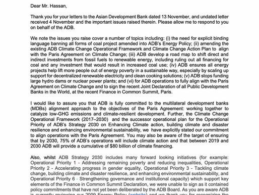 ADB response letter to NGO Forum