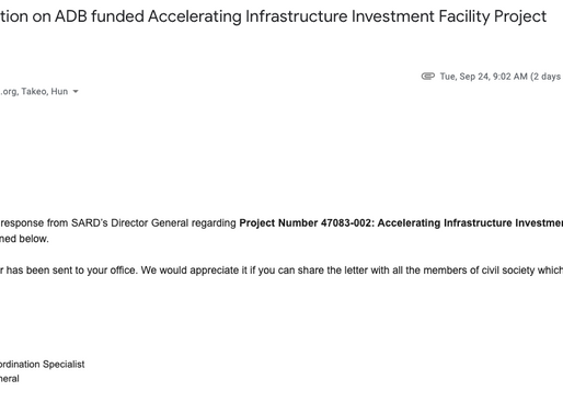 ADB's response on the Accelerating Infra Investment Facility Project labor violation letter