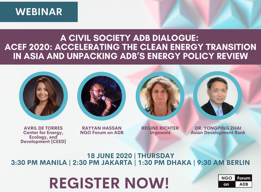 A Civil Society ADB Dialogue: ACEF 2020: Accelerating the Clean Energy Transition in Asia and Unpack