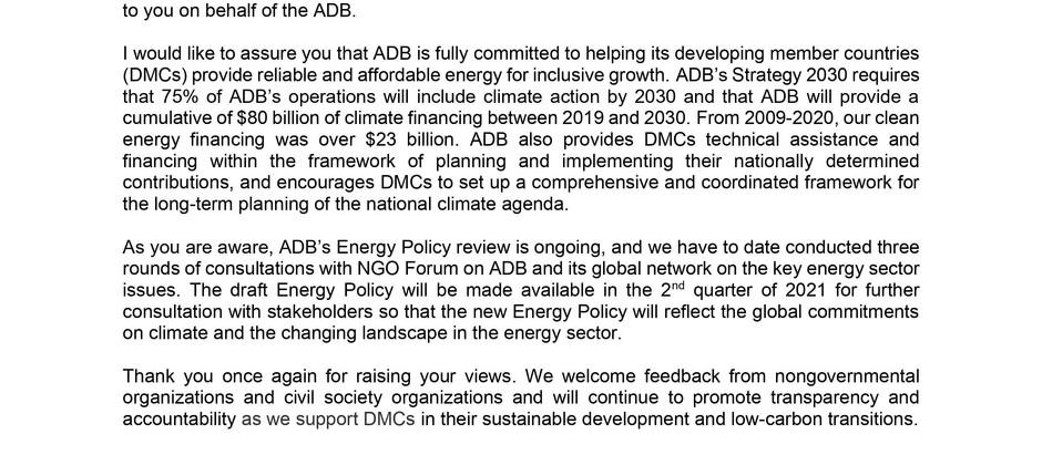 ADB response to FFA launch letter