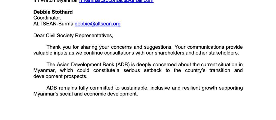 ADB response to Forum network Myanmar Letter