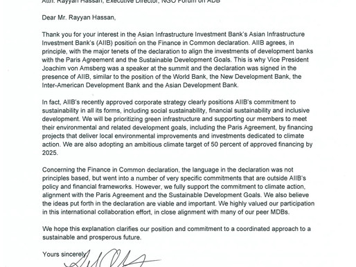 AIIB's response to the Letter to Finance in Common Inquiry
