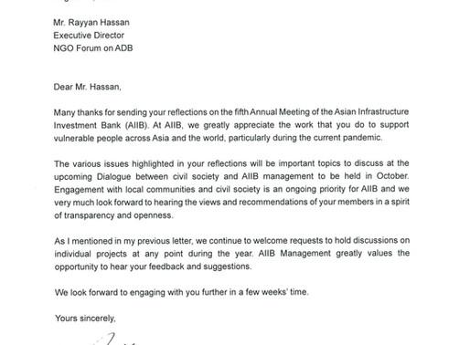 AIIB response to CSO reflections on AIIBs 5th annual meeting (virtual) 2020