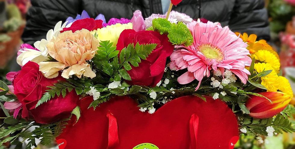 Corazón flor variada