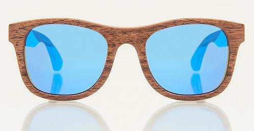 Kyoto Walnut Blue Mirror Lens