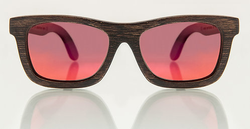 Horizonte Brown Bamboo Red Mirror Lens
