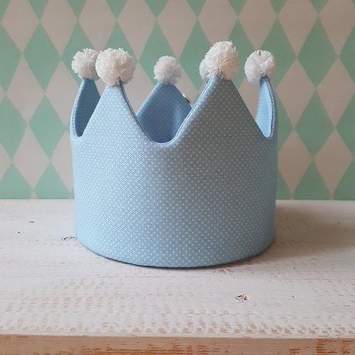 Coroa azul pintinhas*pompons branco