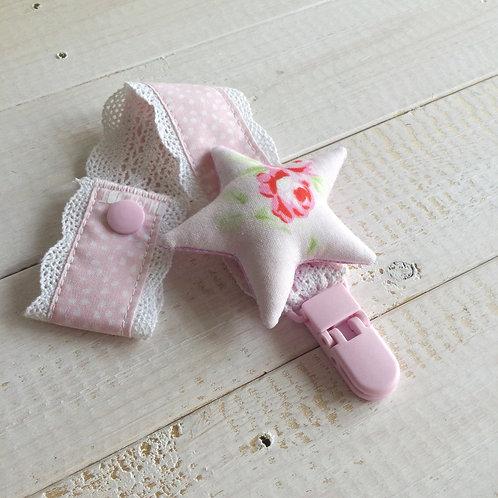 Fita de Chupeta rosa *pontinhos*