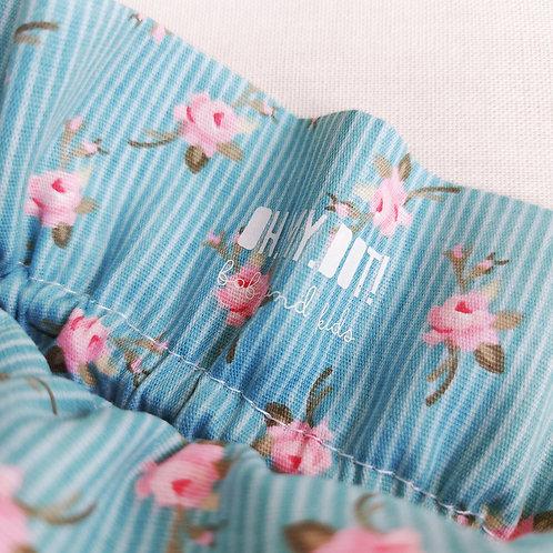 Saco rosa pintinhas* azul flores