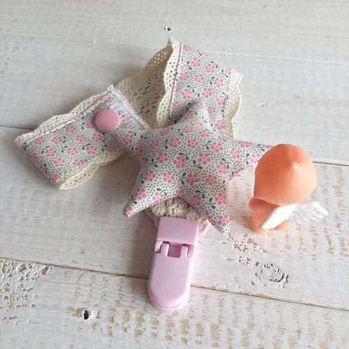 Fita de Chupeta rosa *florinhas*