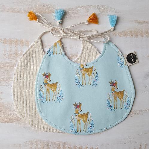 Pack de 2 Babetes azul bambis*amarelo riscas