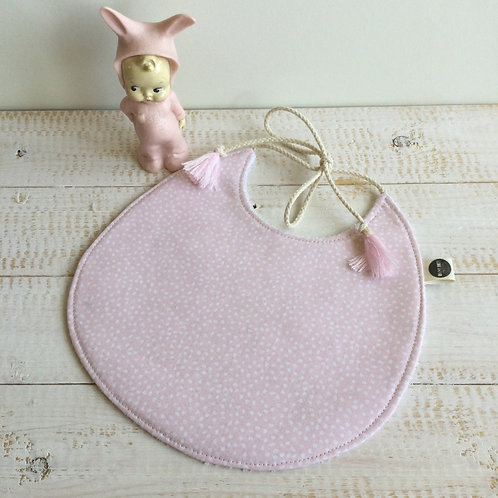 Babete rosa pastel pontinhos