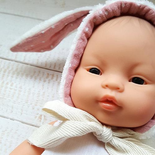 "Touca  ""Bunny"" crú/rosa"